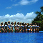 Models at International Bikini Model Search — Stock Photo #46980731