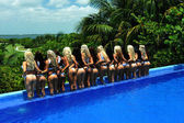 Models at International Bikini Model Search — Stock Photo