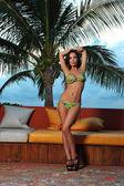 Model at tropical location in bikini — Stock Photo