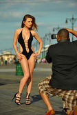 Swimsuit model on the boardwalk — Foto Stock