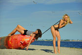 Swimsuit models having fun at beach — Stock Photo