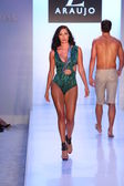 Model walks runway at AZ Araujo Swimwear collection — Stock Photo