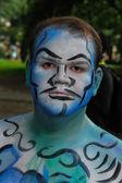 Modelos nuas durante evento pintura corporal — Foto Stock
