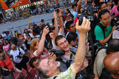 Photographers, artists and crowd during Body Painting Event — Foto Stock