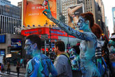 Nude models, artists take to New York City streets during first official Body Painting Event — Stock Photo