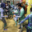 Nude models, artists during Body Painting Event — Stock Photo #50363407