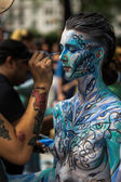 Nude artists during first official Body Painting Event — Stock Photo