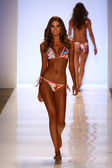 Model walks runway at Liliana Montoya Swim collection — Stock Photo