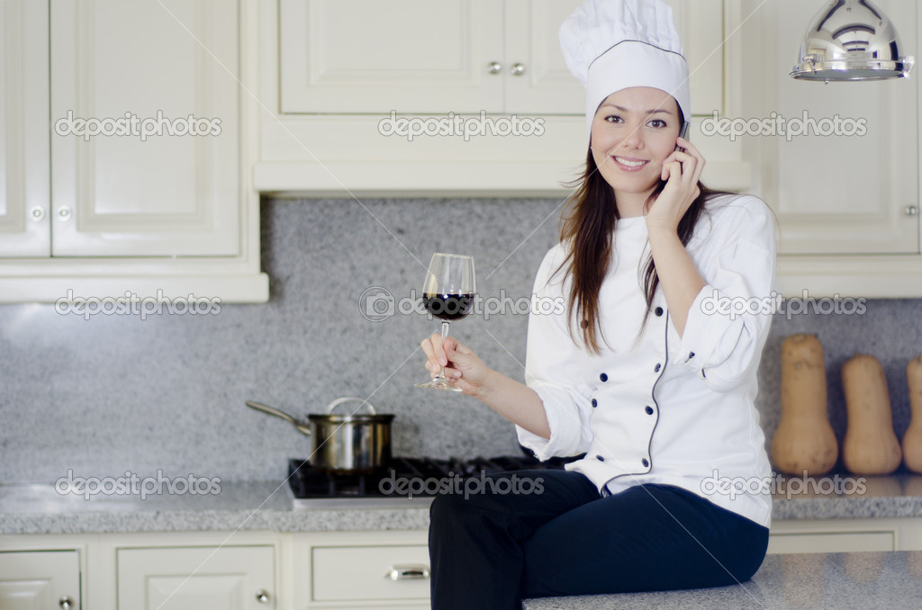 Chef cook relax break enjoy wine  Stock Photo #12450933