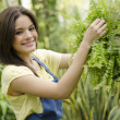 Cute female gardener arranging some plants for display - Stock Photo