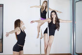 Young sexy women exercise pole dance — Stok fotoğraf