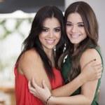Women hugging as best friends — Stock Photo