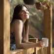 Girl drinking tea on veranda — Stock Photo #22156415