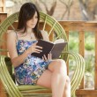 A pretty woman is sitting on a chair and reading book - Zdjęcie stockowe