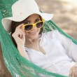 Young woman in the hammock — Stock Photo