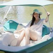 Girl rides on catamaran — Stock Photo