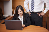 Young attractive woman sitting in office at desk, looking at laptop, man standing — Stock Photo
