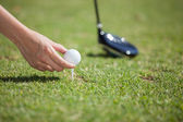 Hand hold golf ball with tee on course — Stock Photo