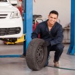 Male mechanic at a car garage fixing a wheel — Stock Photo #26934541