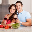 Hispanic couple drinking a glass of wine — Stock Photo