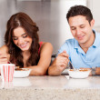 Couple has breakfast together — Stock Photo