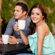 Woman having coffee with her boyfriend — Stock Photo