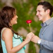 Brunette getting a red rose from her date — Stock Photo