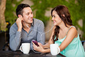 Listening to music together — Stock Photo