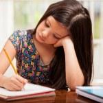 A little girl doing her homework — Stock Photo #32535359