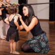 Teacher comforting a dance student — Stock Photo