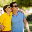Father and his son wearing sunglasses — Stock Photo #34549399