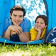 Father and son in tent — Stock Photo