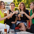 Female friends giving a toast — Stock Photo