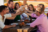 Having drinks and snacks at a bar — Stock Photo