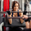 Stock Photo: Girl with barbell
