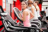 Athletes on the treadmill — Stock Photo
