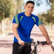 Happy guy ready for bike ride — Stock Photo #39609855
