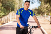 Happy guy ready for a bike ride — Stock Photo