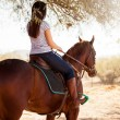 Woman riding a horse and looking forward — Stock Photo #41009577