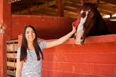 Brunette brushing and grooming a horse — Stock Photo