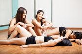 Women taking a break her workout — Stock Photo