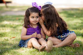 Cute little friends telling each other a secret while sitting at a park — Stock Photo