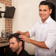 Hispanic barber at work — Stock Photo #45099839