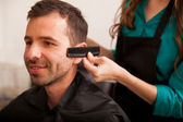 Getting sideburns straight — Stock Photo