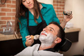 Getting shaved by a girl — Stock Photo