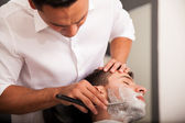 Getting my beard shaved — Stock Photo