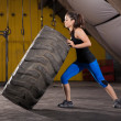 Tire flip with no effort — Stock Photo