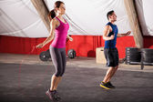 Exercising with a jump rope — Stock Photo