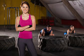 Cute crossfit instructor — Stock Photo