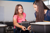 Passing down messages in class — Foto de Stock